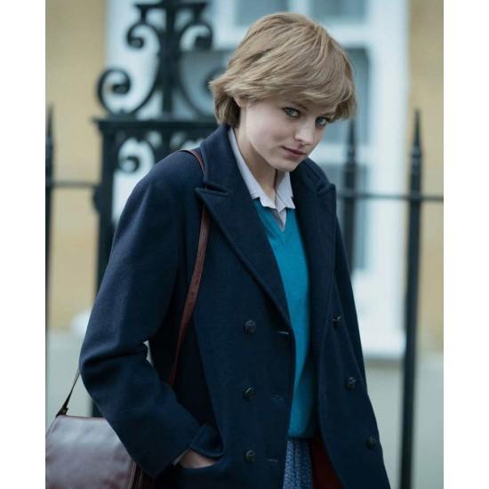Emma Corrin The Crown Blue Coat