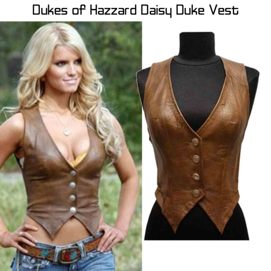 Catherine Bach The Dukes of Hazzard Brown Leather Vest