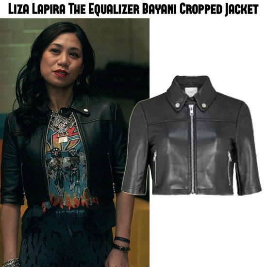 Liza Lapira The Equalizer Cropped Leather Jacket