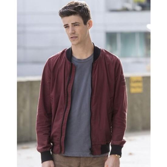 The Flash Grant Gustin Burgundy Bomber Jacket