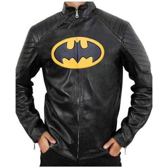 The Lego Batman Yellow Padded Logo Leather Jacket