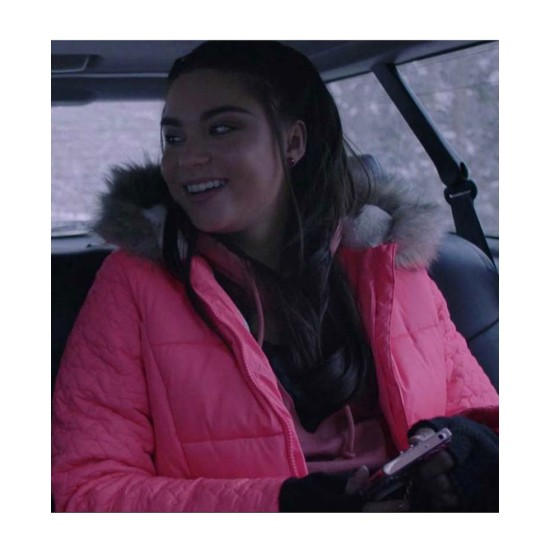 Devery Jacobs The Lie Pink Puffer Coat