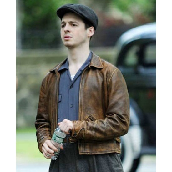 Anthony Boyle The Plot Against America Brown Leather Jacket