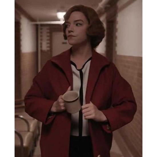Anya Taylor Joy The Queen's Gambit Wool Red Coat