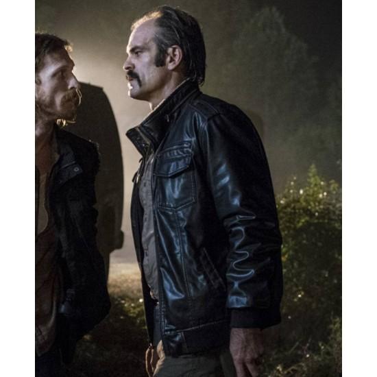 The Walking Dead Simon Bomber Leather Jacket