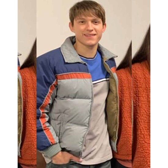 Cherry Tom Holland Bomber Grey and Blue Jacket