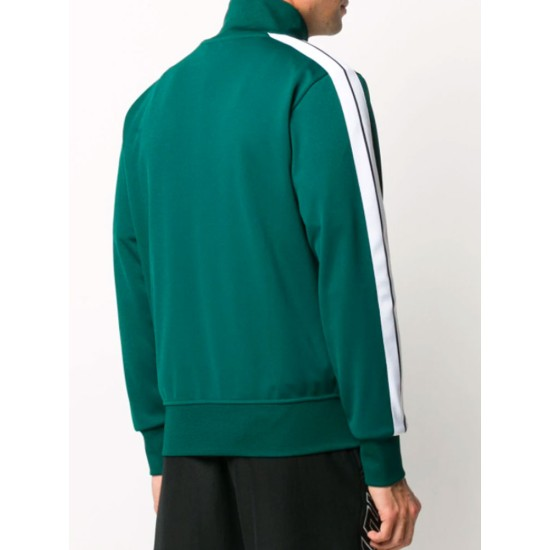 Palm Angels Polyester Striped Track Green Jacket