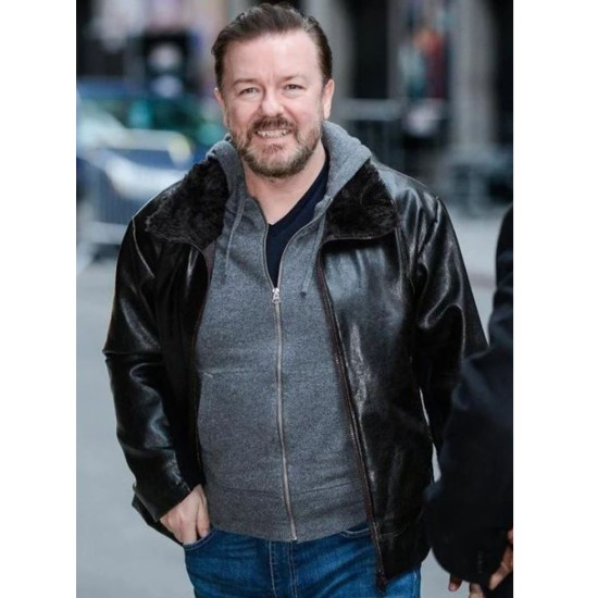 After Life Ricky Gervais Leather Jacket with Fur Collar