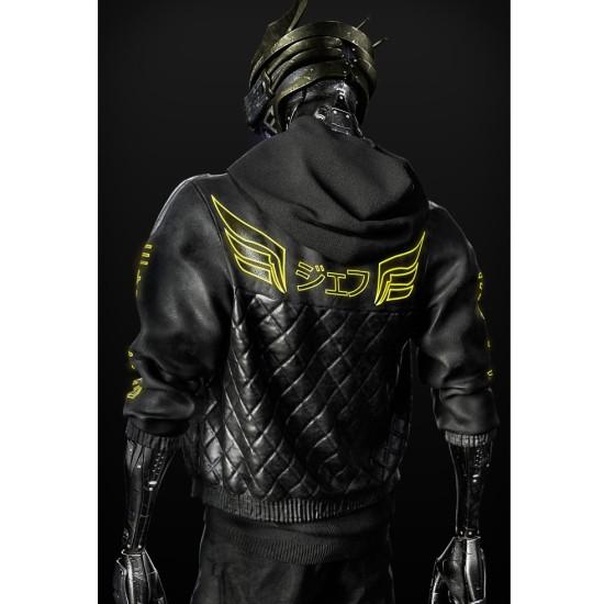 Cyborg Cyberpunk 2077 Black Leather Jacket