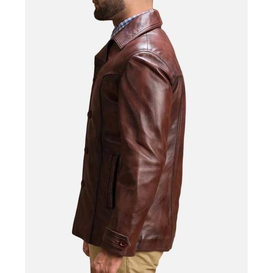 Vincent Alley Button Closure Brown Jacket