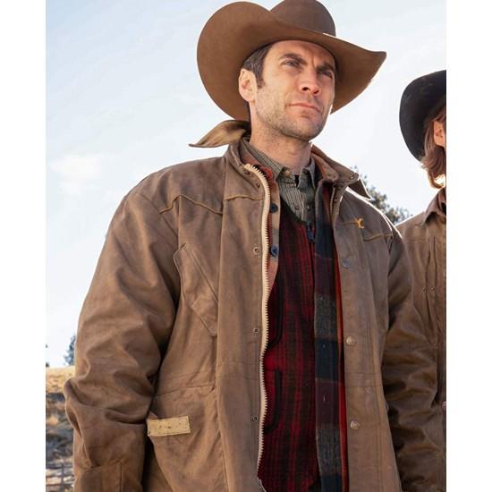 Wes Bentley Yellowstone Brown Leather Jacket