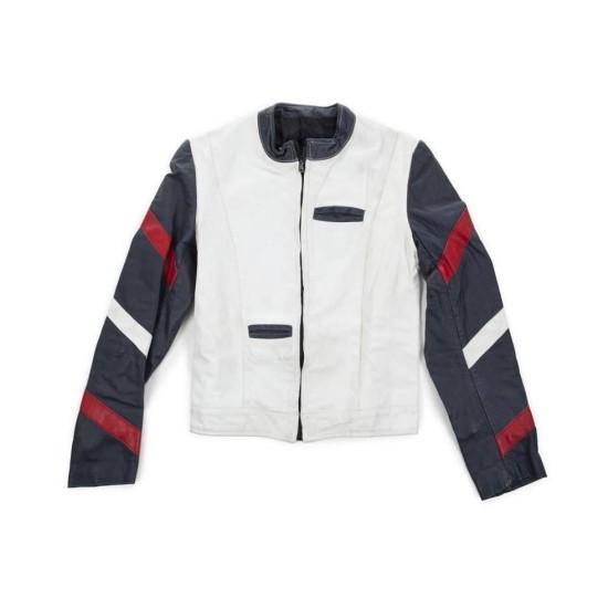 Bruce Lee White and Black Leather Jacket