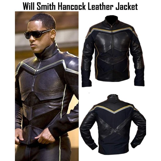 Hancock Film Will Smith Black Leather Jacket