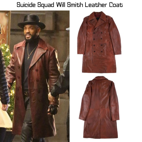 Deadshot Suicide Squad Will Smith Leather Coat