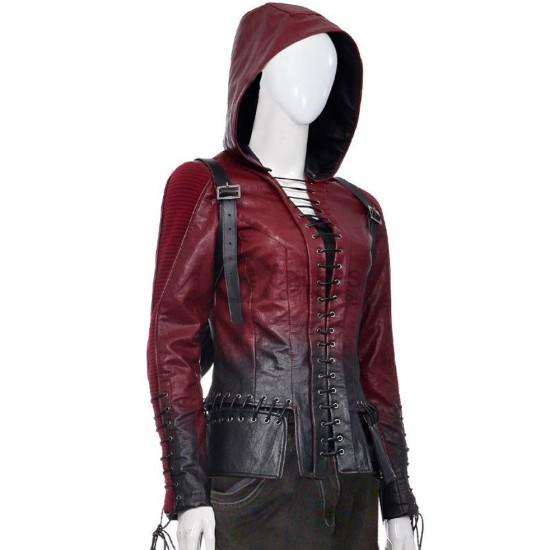 Willa Holland Arrow Season 4 Thea Queen Leather Jacket