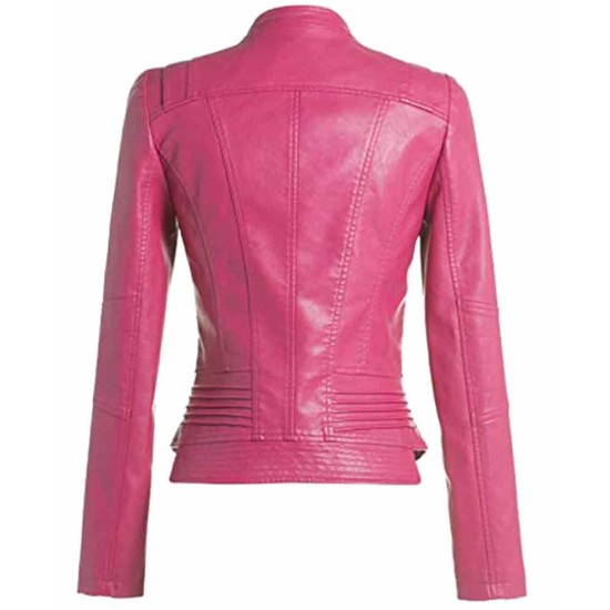 Women's Motorcycle Slim Fit Hot Pink Leather Jacket