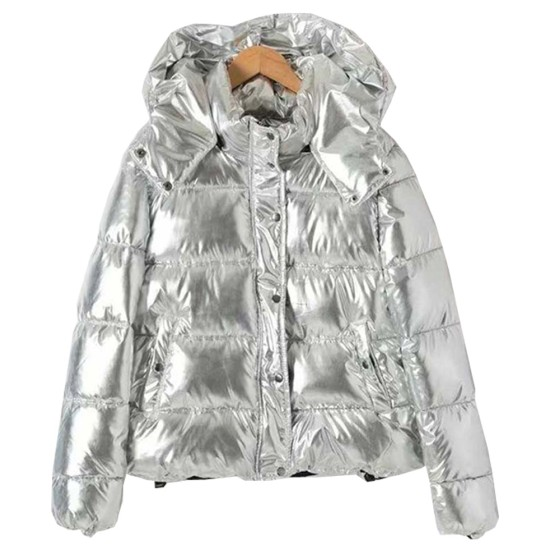 Women's Puffer Silver Down Jacket with Removable Hood