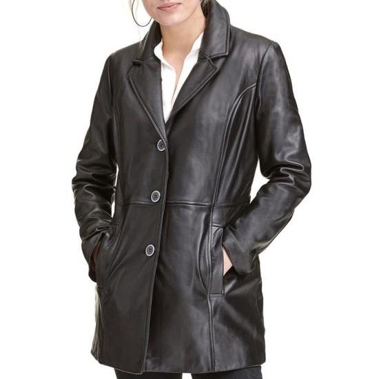 Women's 3 Button Car Black Leather Coat