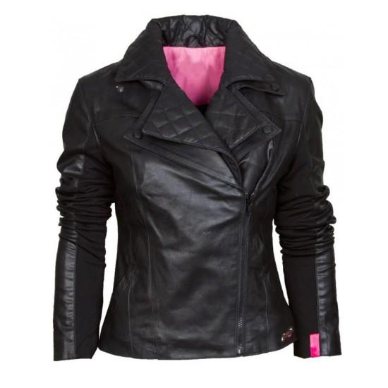 Women's Biker Asymmetrical Black Leather Jacket