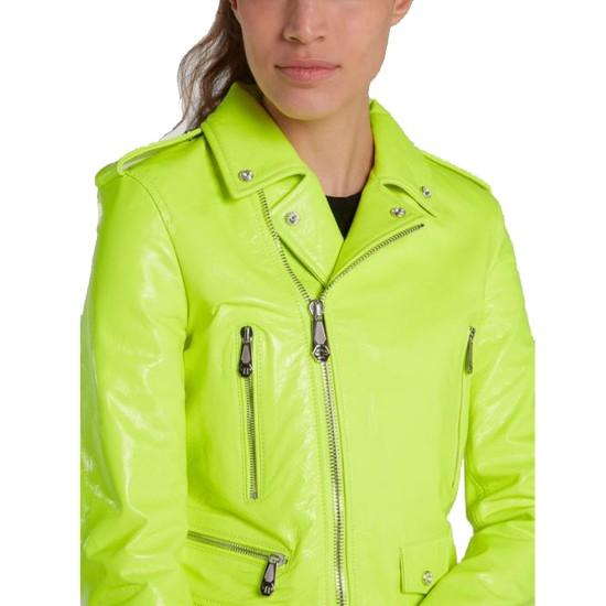 Women's Green Neon Leather Biker Asymmetrical Jacket