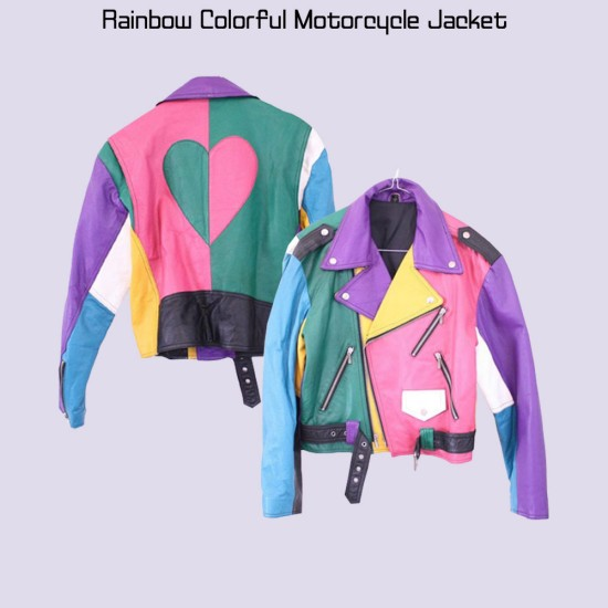 Women's Rainbow Colorful Motorcycle Jacket