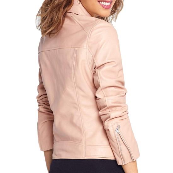 Women's Baby Pink Asymmetrical Zipper Leather Jacket