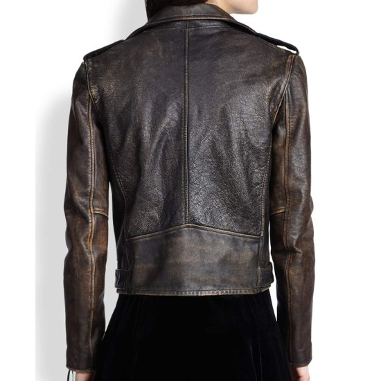 Women's Moto Asymmetrical Distressed Leather Jacket