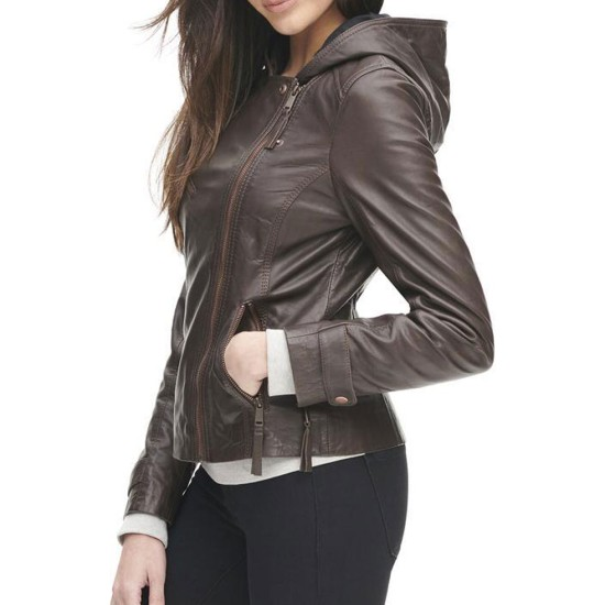 Womens Asymmetrical Zipper Brown Leather Jacket with Hoodie