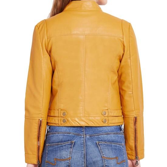 Women's Zipper Pockets Asymmetrical Yellow Motorcycle Jacket
