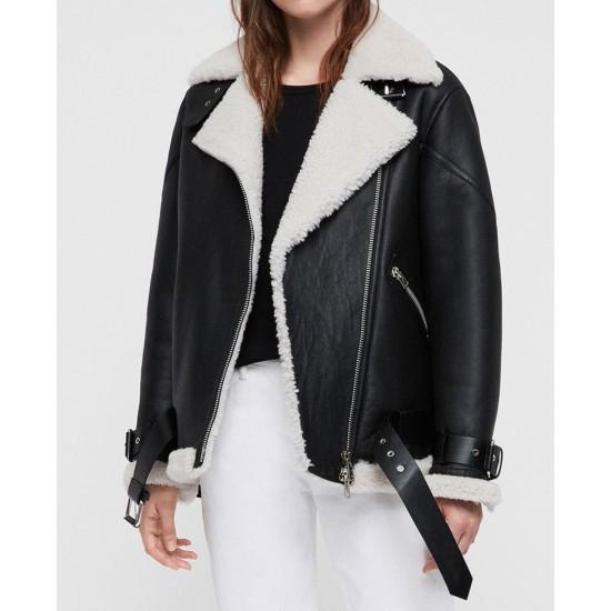 Women's Belted Asymmetrical Shearling Biker Black Leather Jacket