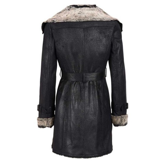 Women's Shearling Belted Black Leather Coat