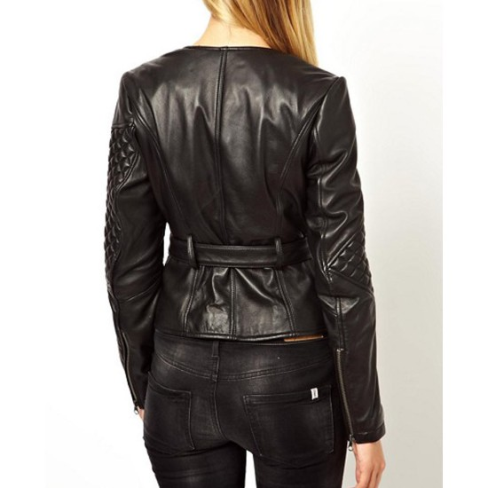Women's Double Zipper Quilted Leather Sleeves Jacket