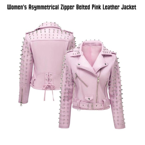 Women's Studded Biker Pink Leather Asymmetrical Jacket