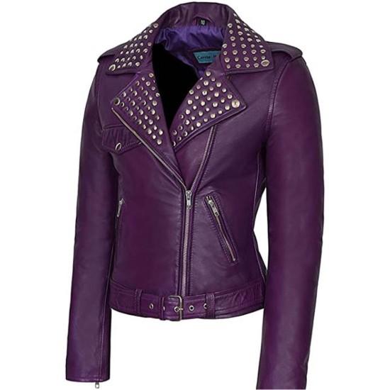 Women's Purple Studded Leather Jacket
