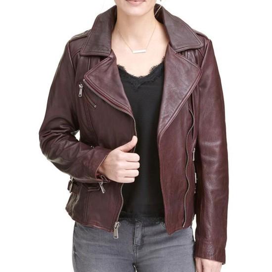 Womens Biker Asymmetrical Burgundy Leather Jacket
