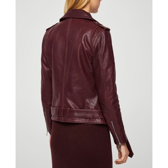Women's Belted Style Motorcycle Burgundy Leather Jacket