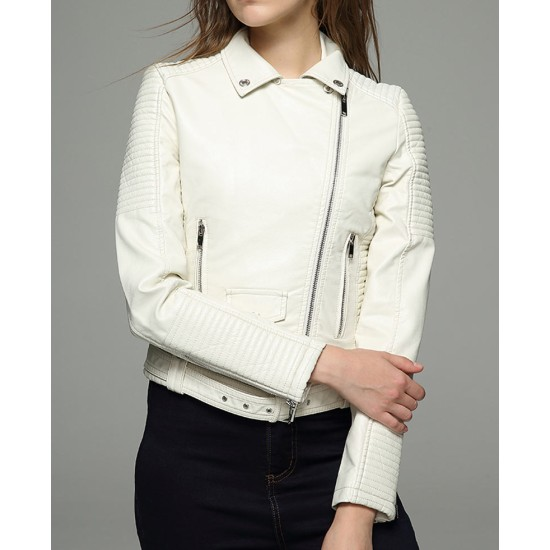 Women's Iceland White Faux Leather Moto Jacket