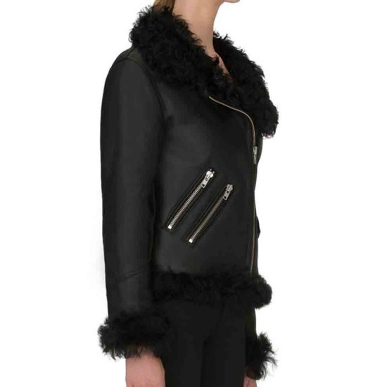 Women's Biker Asymmetrical Shearling Leather Jacket