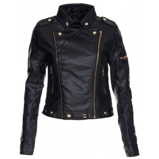 Women's Asymmetrical Zipper Black Leather Biker Jacket