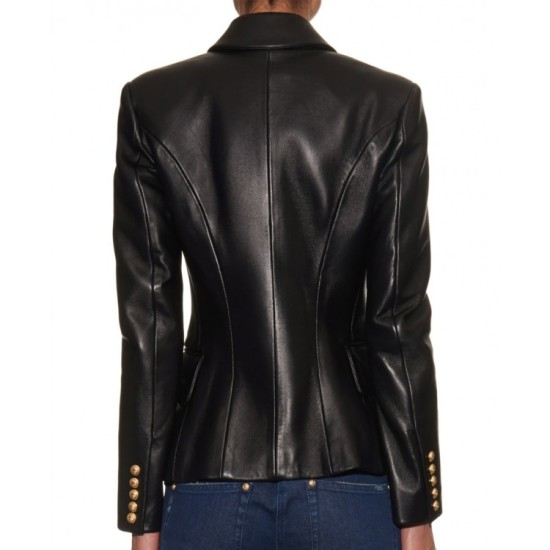Women's Double Breasted Black Leather Blazer