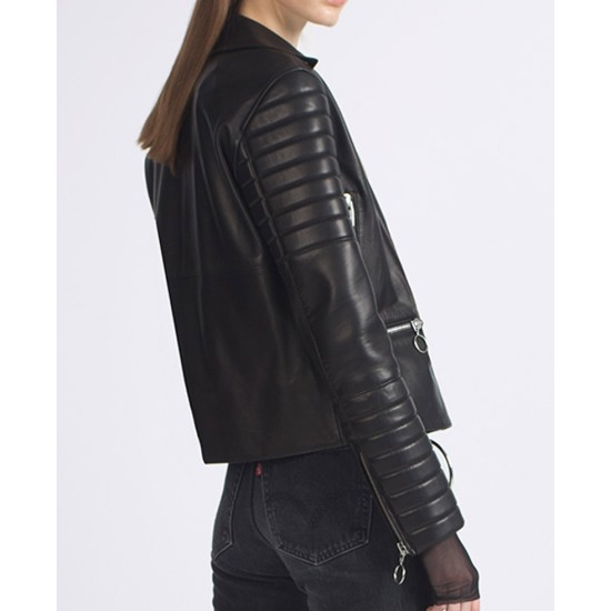 Women's Black Padded Sleeves Lamb Leather Biker Jacket
