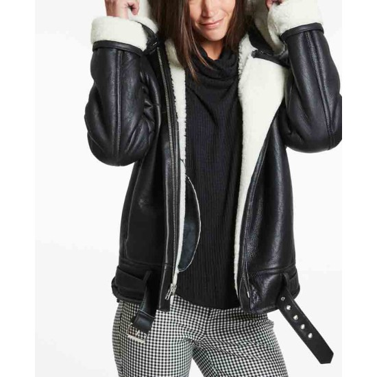 Women's Shearling Biker Style Black Leather Jacket with Fur Collar
