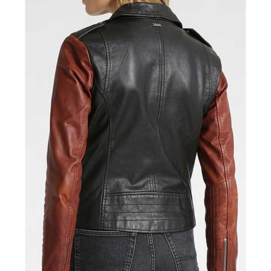 Women's Asymmetrical Zipper Biker Black Jacket with Brown Sleeves