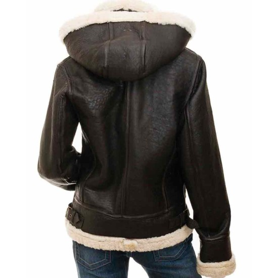 Women's Shearling Brown Leather Jacket with Hood