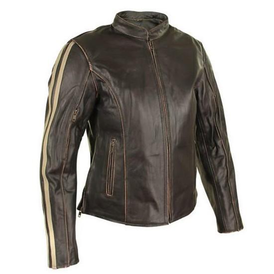 Women's Motorcycle Dark Brown Cafe Racer Leather Jacket