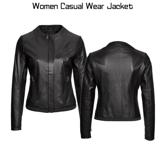 Casual Wear Collarless Black Leather Jacket for Women