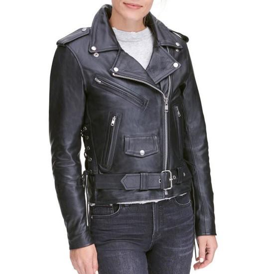 Womens Classic Style Biker Asymmetrical Jacket