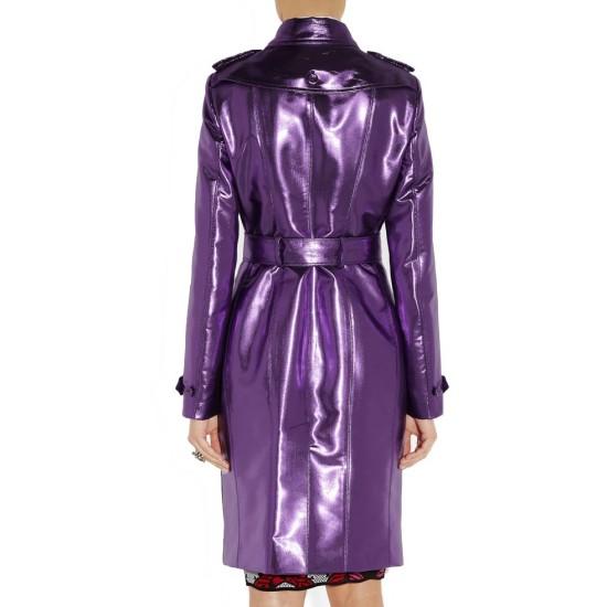 Women's Metallic Purple Trench Coat