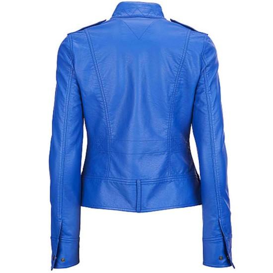 Women's Motorcycle Elegant Blue Leather Jacket