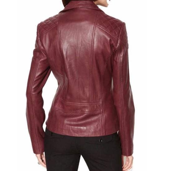 Women's FJ021 Biker Asymmetrical Burgundy Quilted Leather Jacket